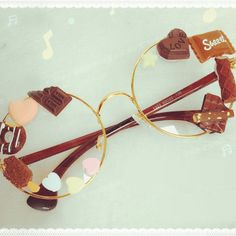 Cute Chocolate Decorated Lolita Inspired Glasses SD00515
