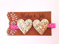 GOLD Glitter Hearts Hair Clips Valentine's Day by MeghanandJulie, $6.75