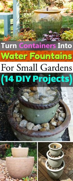 If you love the sound of water and want to get an inexpensive water feature for your home or garden, try one of these DIY Container Water Fountain I garden fountain 14 DIY Container Water Fountain Ideas That Are Easy And Cheap Patio Water Fountain, Garden Fountains Outdoor, Diy Fountain, Indoor Water Fountains, Wall Fountains, Tabletop Fountain, Outdoor Landscaping, Small Water Features, Outdoor Water Features