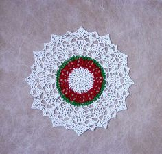 Christmas Lace Crochet Doily Red Green White New Holiday Table Decor by NutmegCottage on Etsy