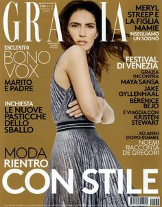 The cover of @Grazia magazine featuring Maya Sansa in a Blumarine Fall Winter 2015/16 full length pleated lurex dress in jersey.   GRAZIA, Italy - September 2, 2015