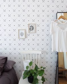 Scandinavian bedroom with DIY self-adhesive wallpaper from Pixers. Source @martina_evn https://www.instagram.com/p/BTj8K6ZALe9/