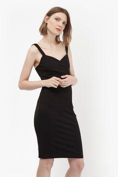 "<ul> <li> Stretch, bodycon dress with cross-over bustier</li> <li> Tailored, relaxed look</li> <li> Round neck</li> <li> Spaghetti straps</li> <li> Maxi length</li> <li> Lace trim at mock wrap and hem</li> <li> Bodycon fit</li> <li> UK size 10 length is 77cm</li> </ul> <strong>Our model is 5ft 9"" and is wearing a UK size 10.</strong>"