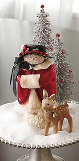 Centerpiece with snowgirl, reindeer & trees created by Nancy Malay