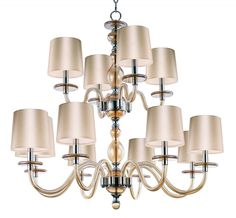 Venetian glass two tier chandelier in amber color hand blown glass and polished nickel metal. Lighting Specialists