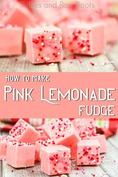 I can't wait to make this easy fudge recipe for pink lemonade fudge! It's so simple--and only just about 3 ingredients. Get the recipe and easy fudge decoration ideas here. Fudge Flavors, Fudge Recipes, Candy Recipes, Sweet Recipes, Easy Fudge, Oh Fudge, Simple Fudge Recipe, How To Make Fudge, Easy Food To Make