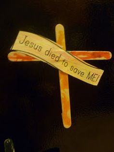 Simple Cross Easter craft. They added a magnet to stick it on the fridge.