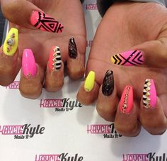 Nail and Beauty Salon in Bristol Neon Aztec Nails, Gel Nails, Manicure, Colorful Nails, Nails 2016, Aztec Art, Wedding Nails, 3 Weeks, Claws