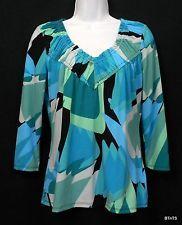 Worthington Stretch Top Womens Sz S Poly Blue Green Print Ruched V-Neck 3/4 Slv