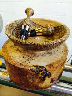 Bocote bowl and bottlestoppers