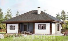 135-003-П Проект одноэтажного дома, бюджетный загородный дом из поризованных блоков
