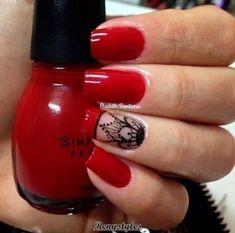 50 Red nail polish can't have enough of this beautiful look - Reny styles Red Nail Polish, Red Nails, Hair And Nails, Love Nails, Pretty Nails, Henna Nails, Perfect Nails, Manicure And Pedicure, Nails Inspiration