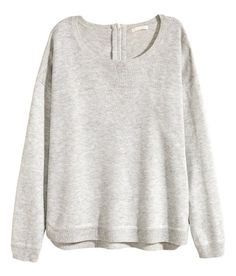 Check this out! Soft, fine-knit sweater. Dropped shoulders, long sleeves, visible zip at back of neck, and slits at sides. Slightly longer at back. - Visit hm.com to see more.