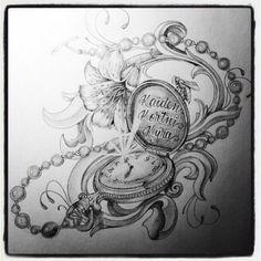 Afbeeldingsresultaat voor pocket watch drawing tattoo