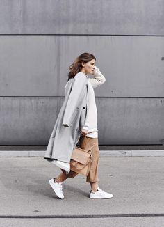 grey coat, camel pants