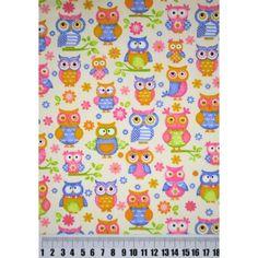 Tecido coruja tricoline 100% algodão estampado para patchwork, artesanato em geral, decoração, confecção de roupas.