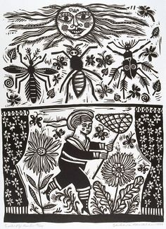 Barbara Hanrahan (Australia 06 Dec 1939 – Dec 1991)     Butterfly hunter, from the portfolio Twelve linocuts, a suite of prints  1990...linocut, black ink on ivory Velin Arches paper