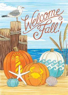 Fall Garden Flag, Garden Flag Stand, Autumn Garden, Garden Flags, Pumpkin Garden, Pumpkin House, House Flag Pole, House Flags, Coastal Fall