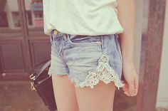 Jean shorts + lace. How cute!