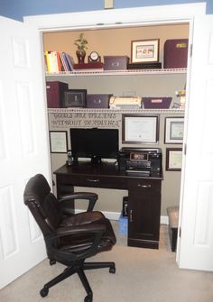 """""""Cloffice"""" or Closet Office ...  add spotlights to the inside with a dimmer switch, corkboard, calendar, shelving, storage boxes, and office equipment... Saves tons of space and the best part is that when the chair is pushed in and the doors are closed, the office is completely hidden."""