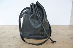Authentic  Longchamp Black Leather Bucket Bag by JeannetteVintage