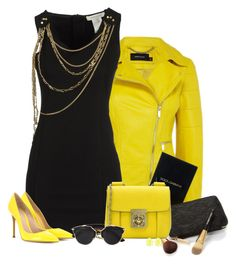 """""""Neon Yellow & Black"""" by signaturenails-dstanley ❤ liked on Polyvore featuring Pierre Balmain, Gianvito Rossi, Dolce&Gabbana, Chloé, Christian Dior, Kendra Scott, women's clothing, women, female and woman"""