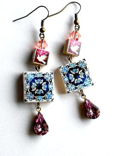 Portugal  Antique Azulejo Fresco Tile Replica Earrings by Atrio, $20.00