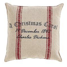 "A Christmas Carol Date Pillow 12x12"" Bring classic style and charm to your decor when you add this A Christmas Carol date pillow to your sofa or love seat. This pillow measures 12x12"" and comes filled"
