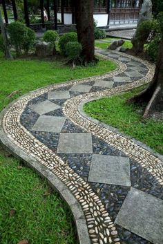 awesome walkway design ideas for front yard landscape 29 « Garten Front Yard Walkway, Gravel Walkway, Backyard Walkway, Concrete Walkway, Front Yard Landscaping, Walkway Ideas, Landscaping Ideas, Rock Walkway, Brick Pavers