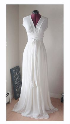 White Convertible/Infinity Dress with Silk Chiffon Skirt Overlay. long for ceremony, shorter for dancing.