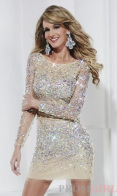 Long Sleeve Open Back Beaded Dress by Hannah S at PromGirl.com