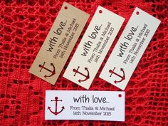 10 Kraft Cream Gift Tags Wedding Favour Bomboniere Personalised Nautical Anchor #Unbranded