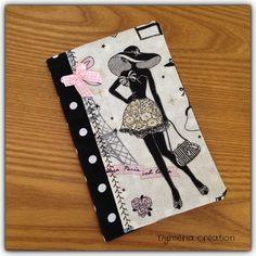 """Carnet de sac rétro """"la parisienne"""" en tissu tissu noir à pois : Carnets, agendas par nymeria-creation"""