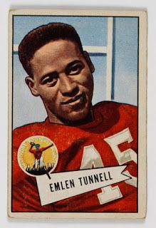 On August 5, 1967 Emlen Tunnell was the first African American inducted into the Pro Football Hall of Fame. In his 14 years as a defensive back in the NFL playing for the Giants and the Packers he was a 9-time Pro Bowl selection and twice led the league in punt return yardage. After retirement he was an assistant coach for the Giants. #TodayInBlackHistory