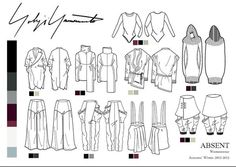 A Design Project on designing an A/W collection for Yohji Yamamoto, Over a 10 week period. Flat Drawings, Flat Sketches, Dress Sketches, Technical Drawings, Fashion Illustration Sketches, Fashion Sketchbook, Fashion Sketches, Drawing Fashion, Design Illustrations
