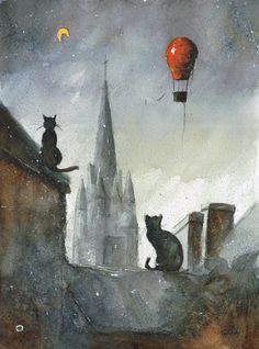 'Cats from Josselin' , made by: Sanderus aka Grzegorz Chudy (from Polen) Black Cat Art, Black Cats, Crazy Cats, Collage Art, Cats And Kittens, Illustration Art, Cat Illustrations, Artsy, Drawings