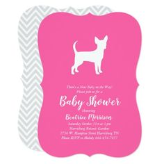 Chihuahua Dog Baby Shower Girl Pink Invitation   chihuahua tips, ugly chihuahua, pug chihuahua #chihuahuapoodlemix #chihuahuasdailypost #chihuahuainbag, back to school, aesthetic wallpaper, y2k fashion Chihuahua Tattoo, Chihuahua Dogs, Pug, Dog Shower, Girl Shower, Pink Invitations, Baby Shower Invitations, Invitation Templates, Dog Baby