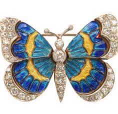 Enamel and Diamond Butterfly Brooch