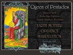 THE Queen of Pentacles TAROT CARD MEANINGS - UPRIGHT& REVERSED! The Queen of Pentacles Tarot includes LOVE, NUMEROLOGY, & SYMBOLS for more accurate TAROT READING..