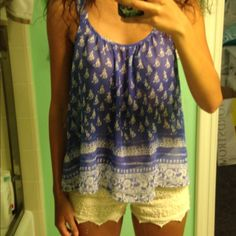 Boho tank top Worn once. Indigo color, super cute! PacSun Tops Tank Tops