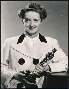 Bette Davis and her Oscar.