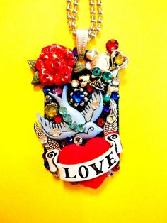 Love Tattoo Dog Tag Pendant Number 1121 by BradosBling on Etsy, $39.99
