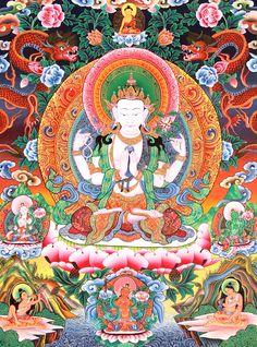 Chenrezig (Avalokitesvara), the Bodhisattva of compassion, with dragons