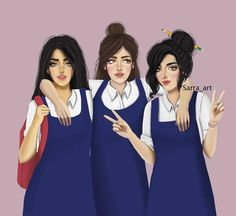 3 540 Likes 221 Comments Sara Ahmed Sarra Art On Instagram صديقاتي سأجعل ابنتي تبحث عن صديقات مثلكم Girly M Cute Girl Drawing Drawings Of Friends