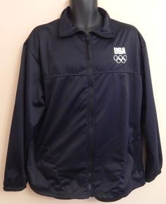 United States Olympic Committee Team USA Track Jacket Navy Blue White Size XL #UnitedStatesOlympicCommittee #TracksuitsSweats