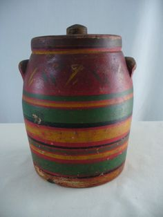 Antique Earthen Ware Pottery Storage Jar With Folk Art Style Paint Applied  On Etsy, $25.00