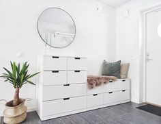 Monday and the hall got a mirror ! Room Ideas Bedroom, Home Decor Bedroom, Flur Design, Dressing Room Design, Aesthetic Room Decor, Bedroom Storage, Home Decor Furniture, Home Interior Design, Living Room Designs