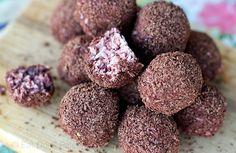 Cherry Ripe Chocolate Truffles Recipe - paleo, vegan and raw. Via Eat Drink Paleo http://eatdrinkpaleo.com.au/cherry-ripe-chocolate-truffles/
