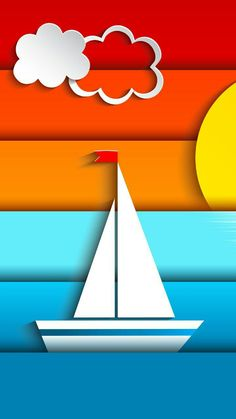 Colorful Stripes Sailboat Wallpaper