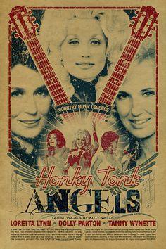 Honky Tonk Angels poster. Dolly Parton. Loretta door UncleGertrudes